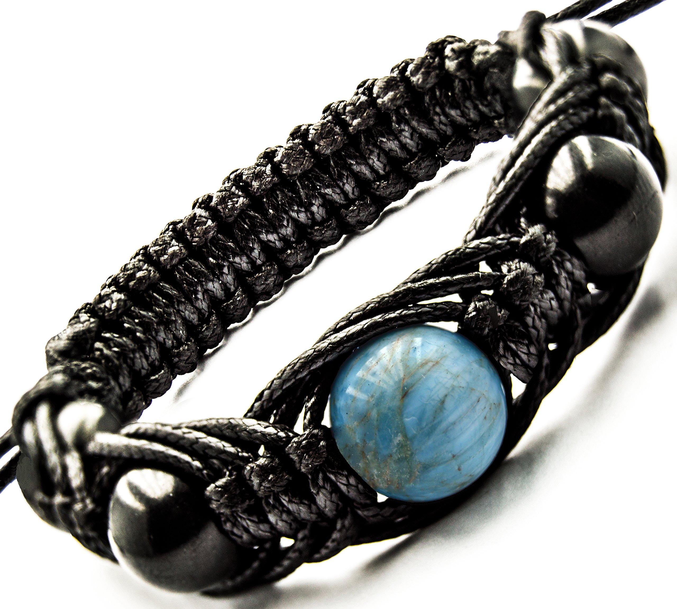 Shamballa Bracelet Shungite with Shungites Beads and Gemstones - Small Wrist Sizes (Apatite)