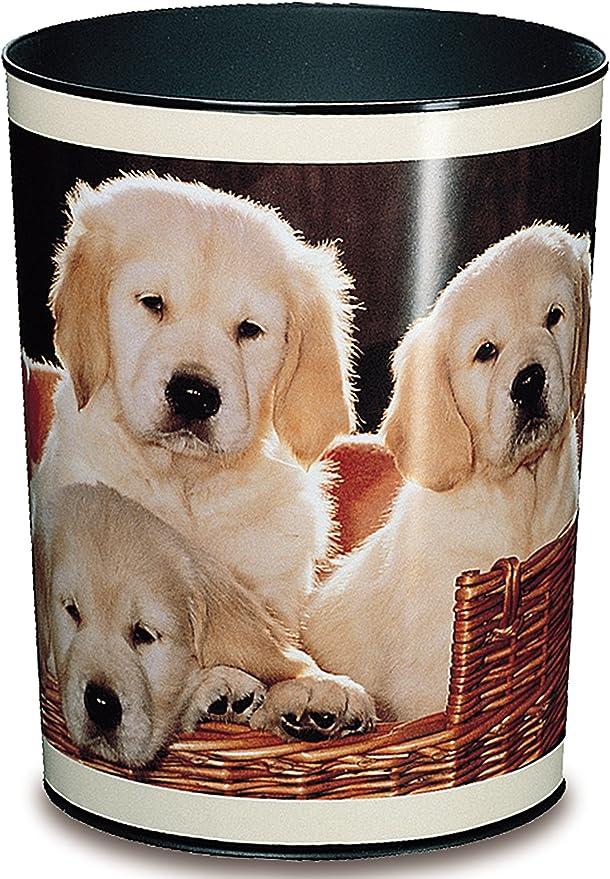 cubo de basura redonda Papelera estampada pl/ástico resistente color Bunter Hund 13/litros perfecta para el dormitorio infantil