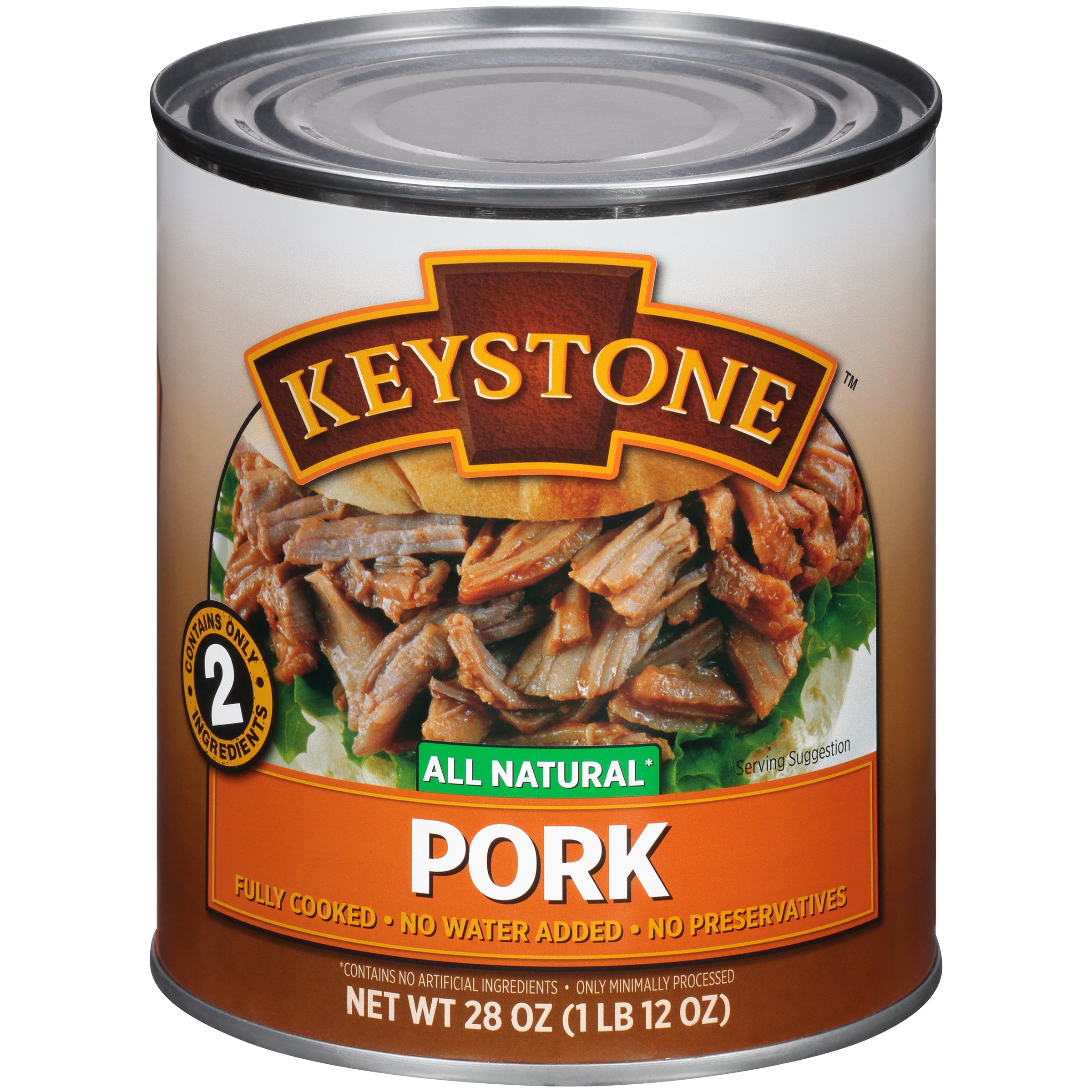Keystone Meats All Natural Canned Pork, 28 Ounce