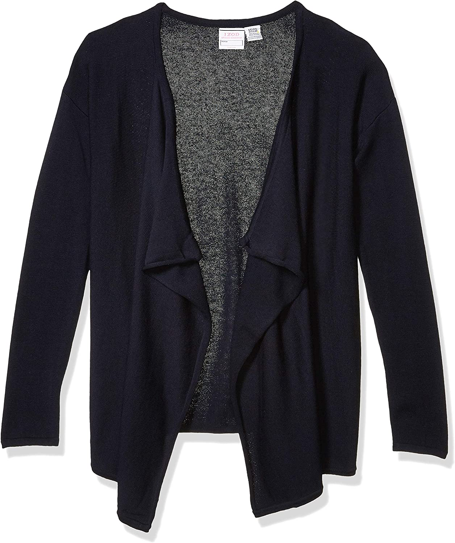 IZOD Juniors Uniform Drape Front Cardigan Sweater Large Navy