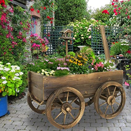 Garden Wood Wagon Flower Planter Pot Stand With Wheels Home Outdoor Decor