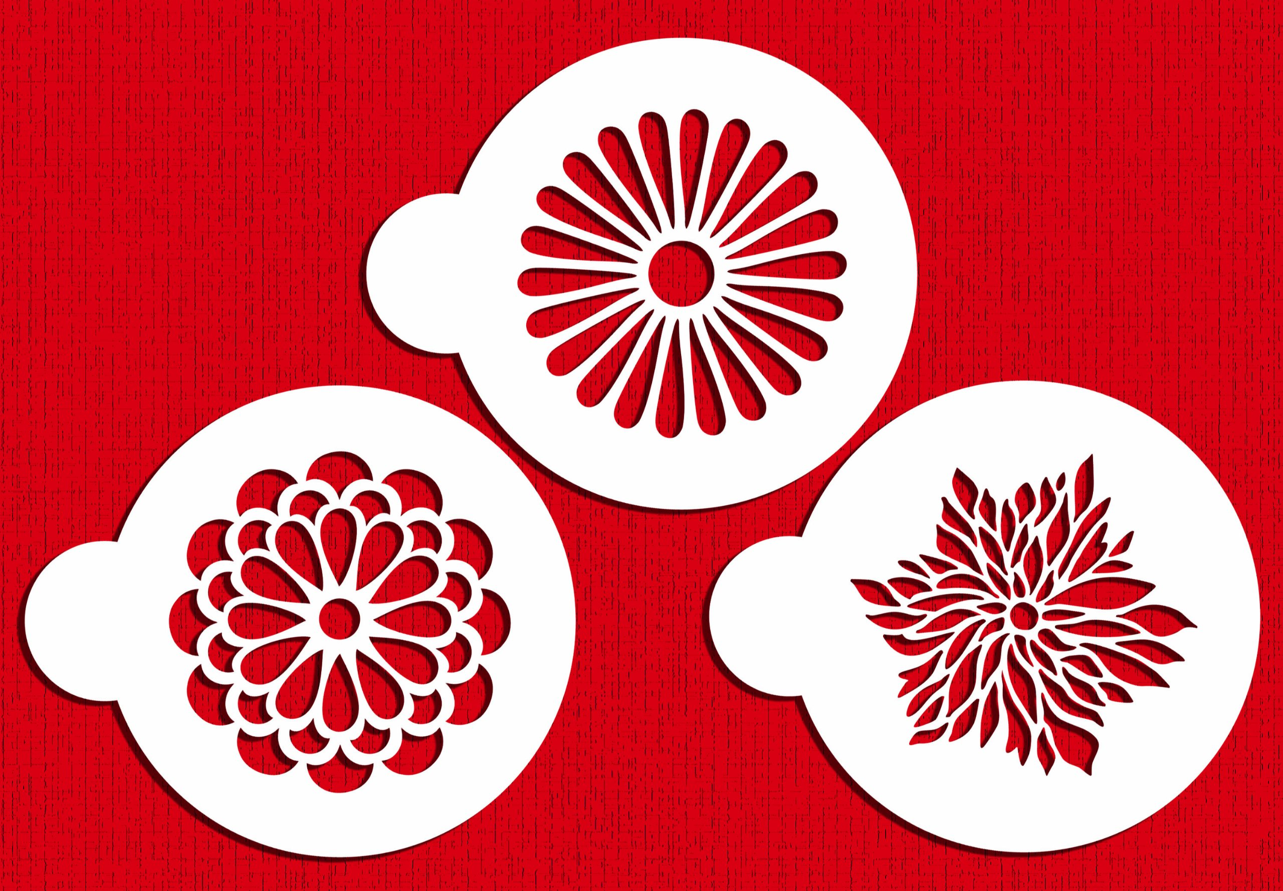 Designer Stencils C559 Modern Flower Cookie Stencil Set, Beige/Semi-Transparent