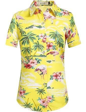 e08d6620e SSLR Women's Flamingos Floral Casual Short Sleeve Hawaiian Shirt (X-Small,  Bright Yellow