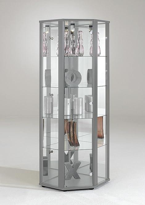 CORNER Glass Display Cabinet Unit (CORNER SILVER): Amazon.co.uk ...