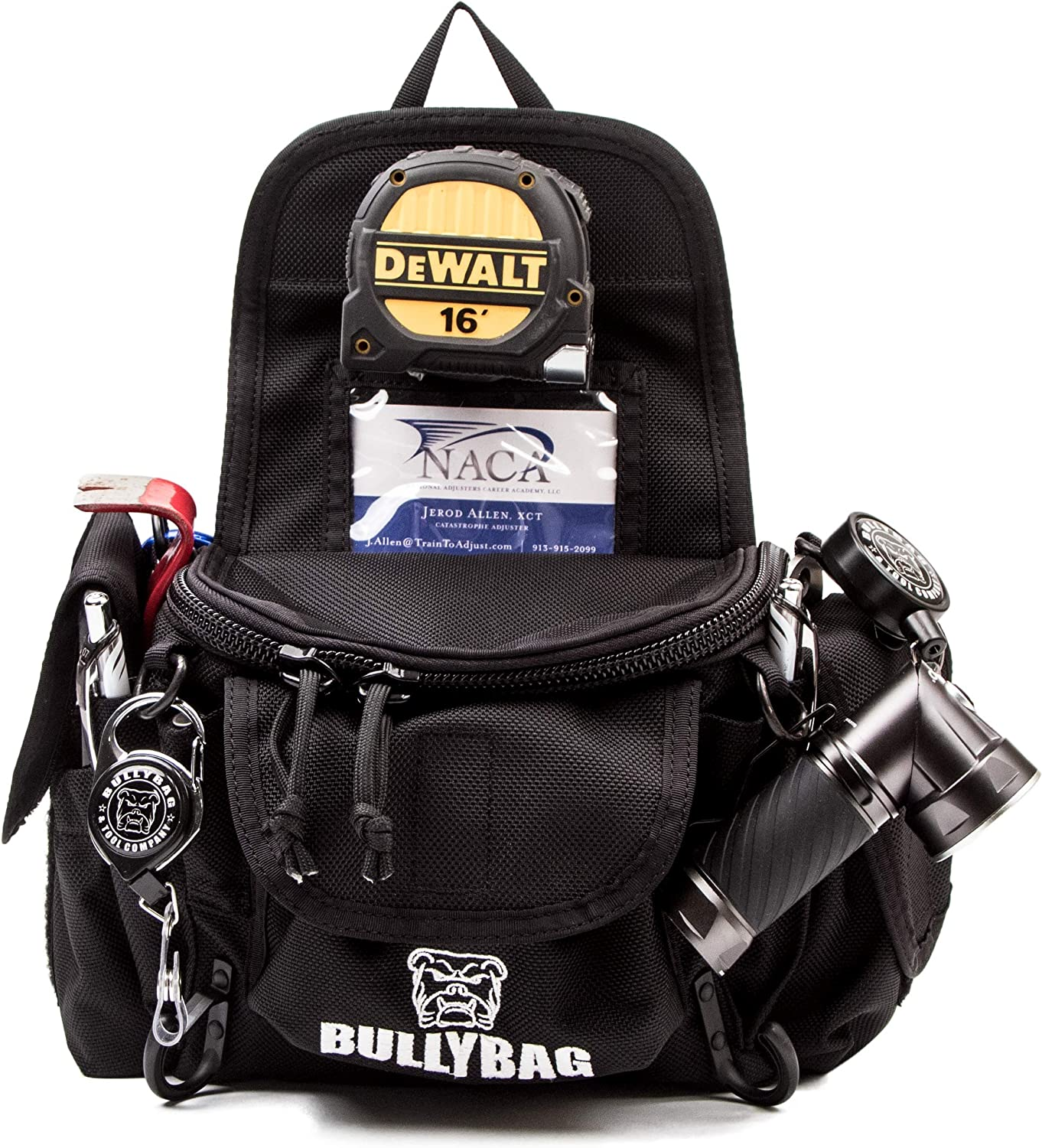 Adjuster/Estimators BullyBag Ultra Pouch - Custom Tool Belt/Pouch w Paddle Hip Clip w Badge & Gear Retainers for Adjusters, Estimators, Electricians, Roofing Sales & more
