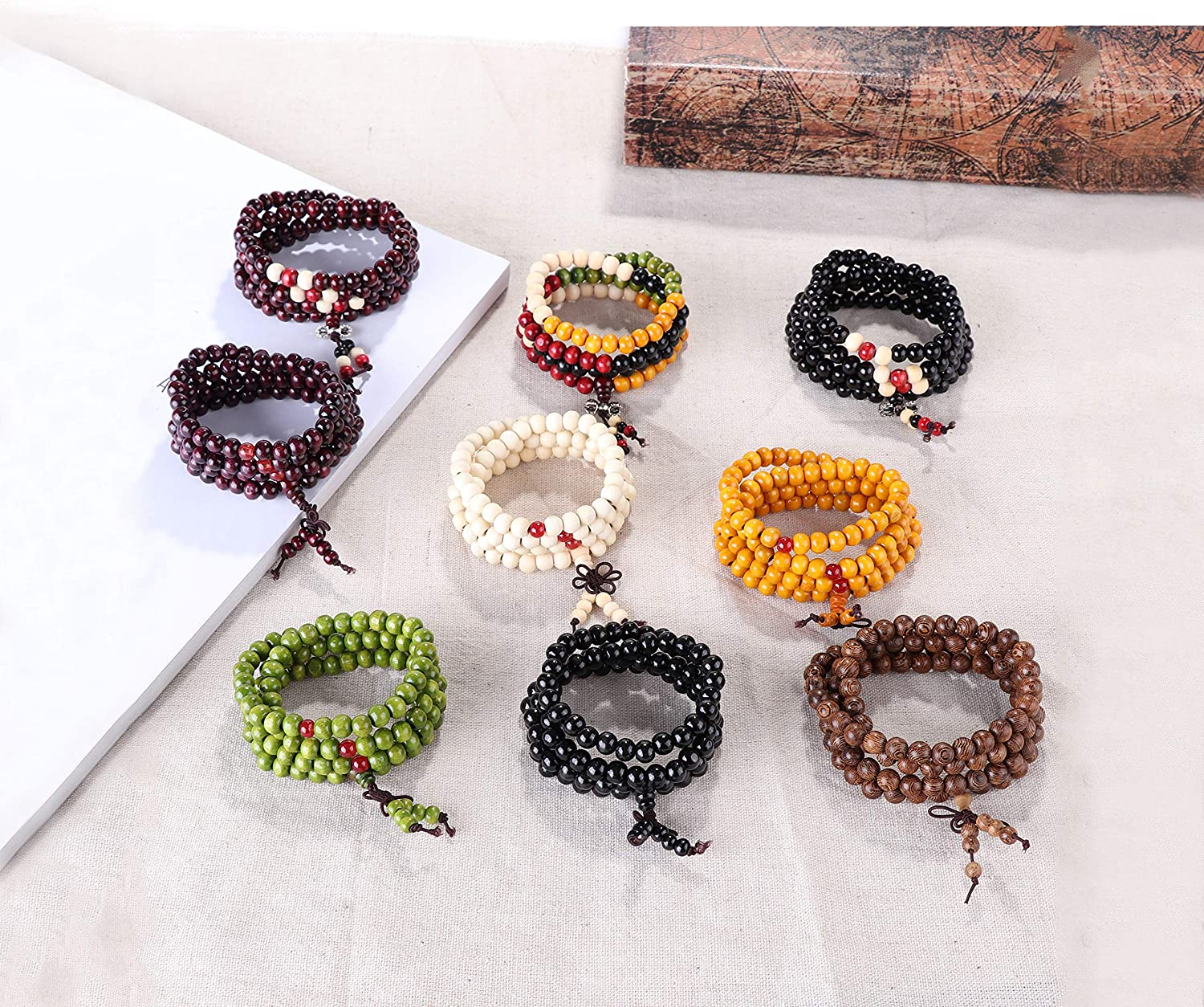 YADOCA 9 Pcs Bead Bracelet for Men Women 108 Mala Beads Bracelets Sandalwood Link Wrist Necklace 8mm Wood Bracelet for Men
