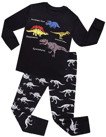 5d85925806f1 Amazon.com  shelry Boys Dinosaurs Pajamas Kids Cotton PJs Children ...