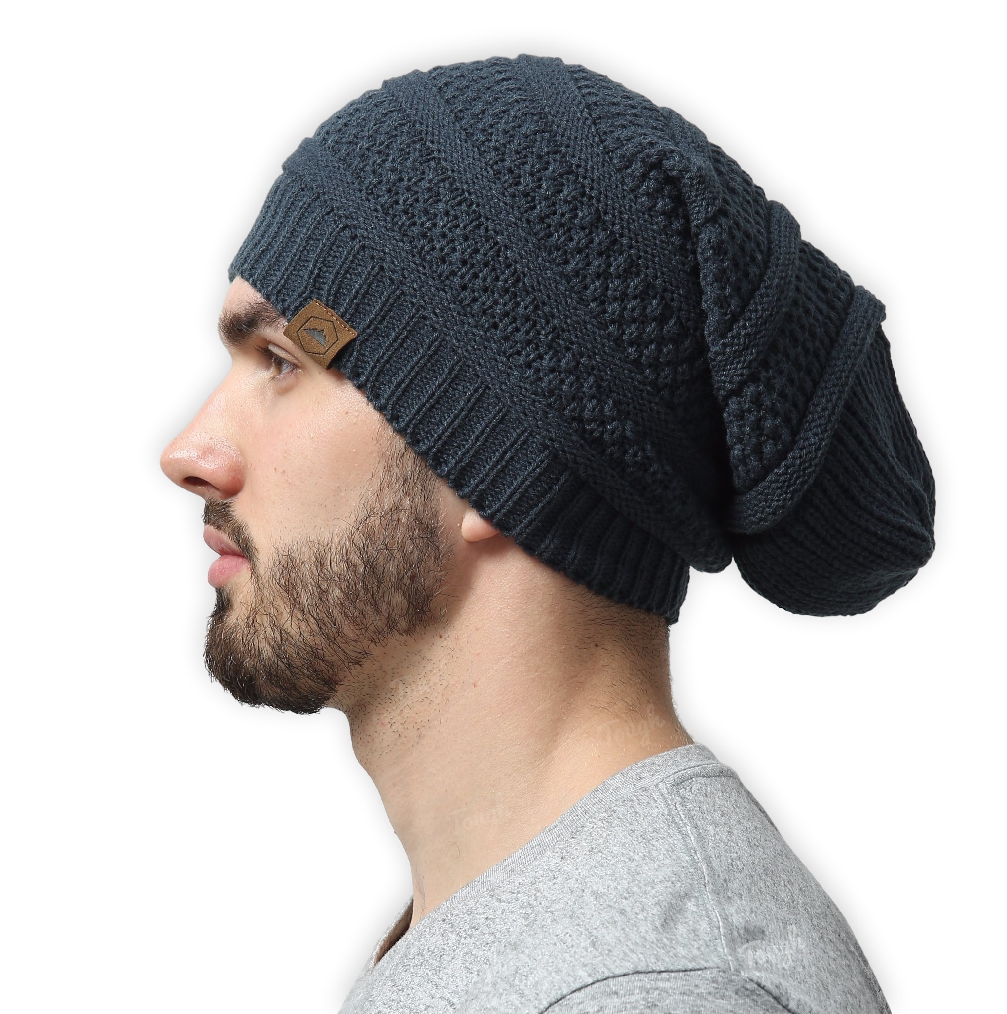 Slouchy Cable Knit Beanie - Chunky, Oversized Slouch Beanie Hats for Men & Women - Stay Warm & Stylish - Serious Beanies for Serious Style by Tough Headwear