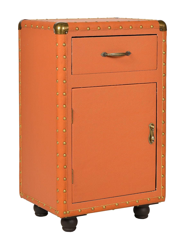 Ts-ideen Kommode Schrank Koffer Design Truhe Kunstleder mit Nieten Kofferkommode zur Aufbewahrung 67 x 40 cm