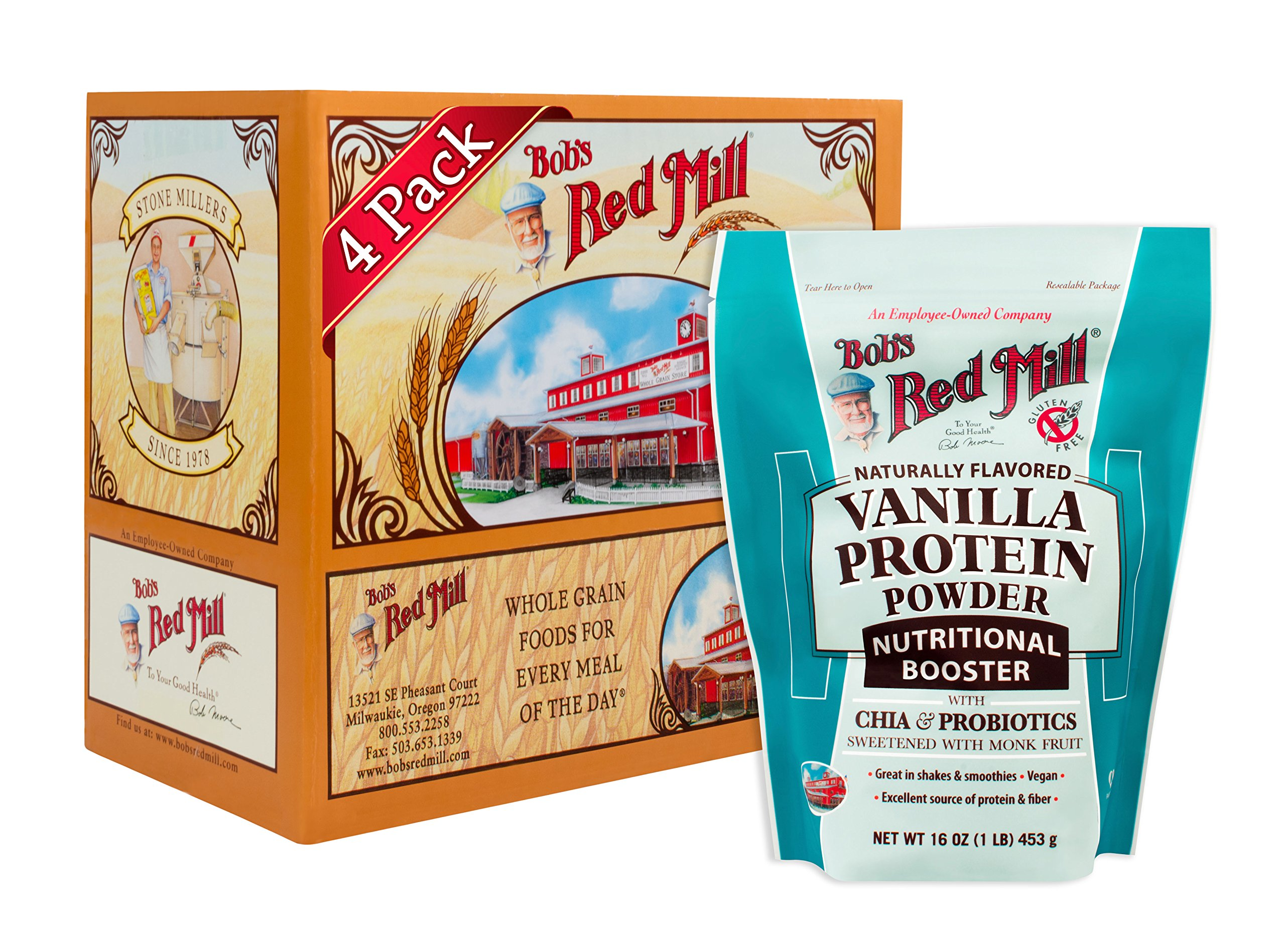Bob's Red Mill Resealable Gluten Free Vanilla Protein Powder Nutritional Booster, 16 Oz (4 Pack) by Bob's Red Mill