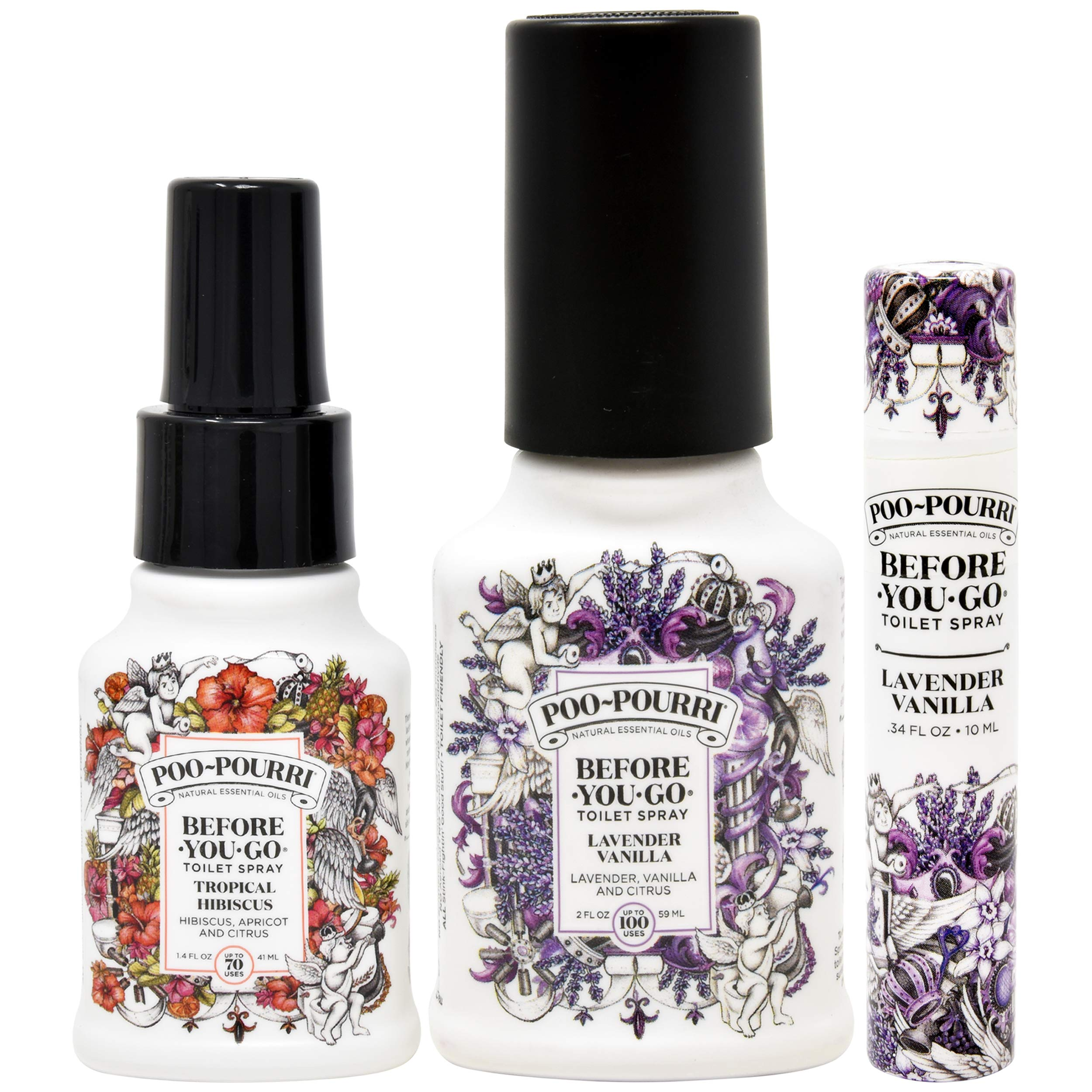 Poo-Pourri Lavender Vanilla Before You Go Toilet Spray 2 Ounce, Tropical Hibiscus 1.4 Ounce and Travel Size Disposable Spritzer by Poo-Pourri