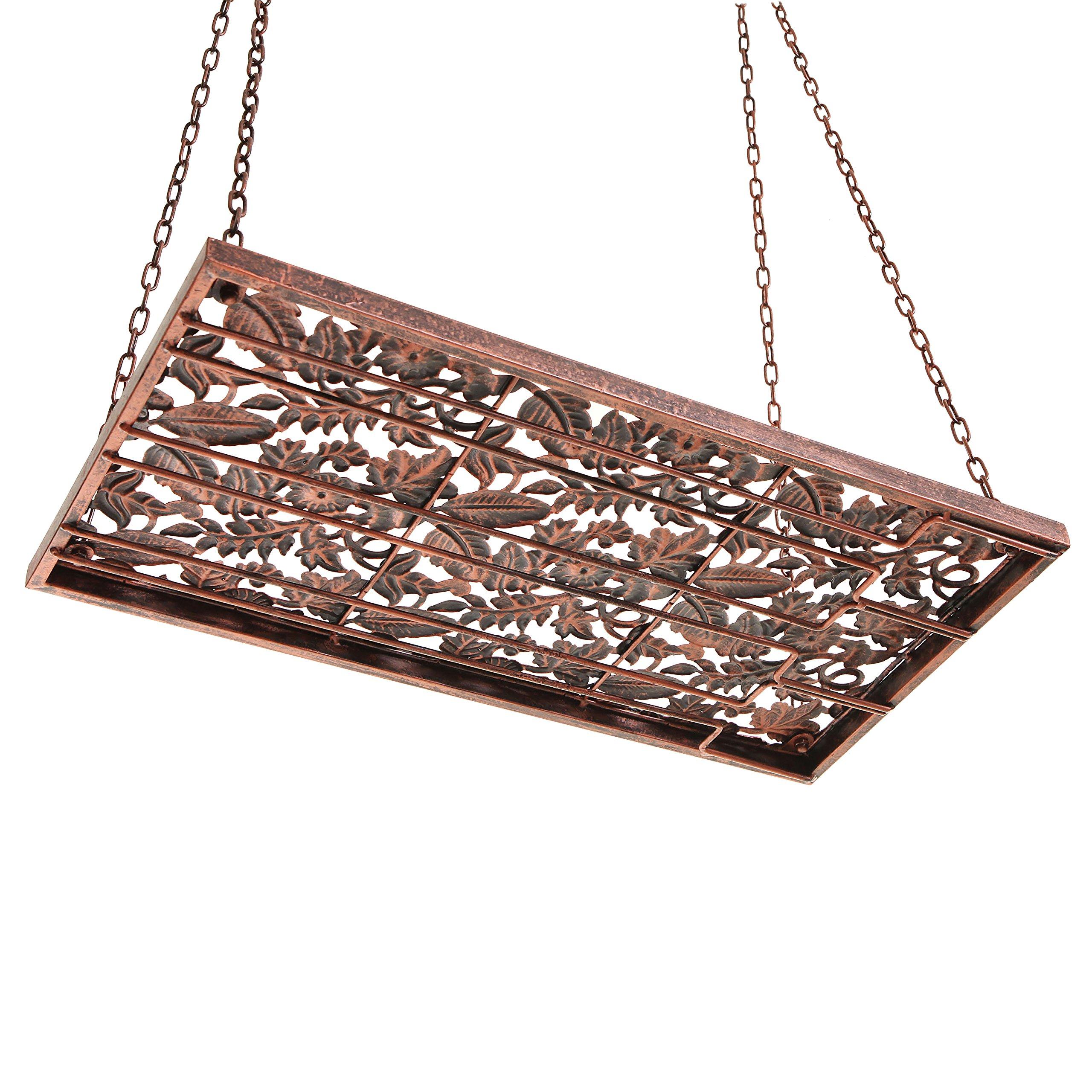 Vineyard Country Rustic Bronze Metal Ceiling Mounted Hanging Stemware Wine Glass Hanger Organizer Rack by MyGift (Image #6)