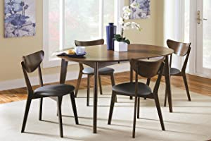 Coaster Home Furnishings Malone 5-Piece Oval Table Dining Set Dark Walnut and Black
