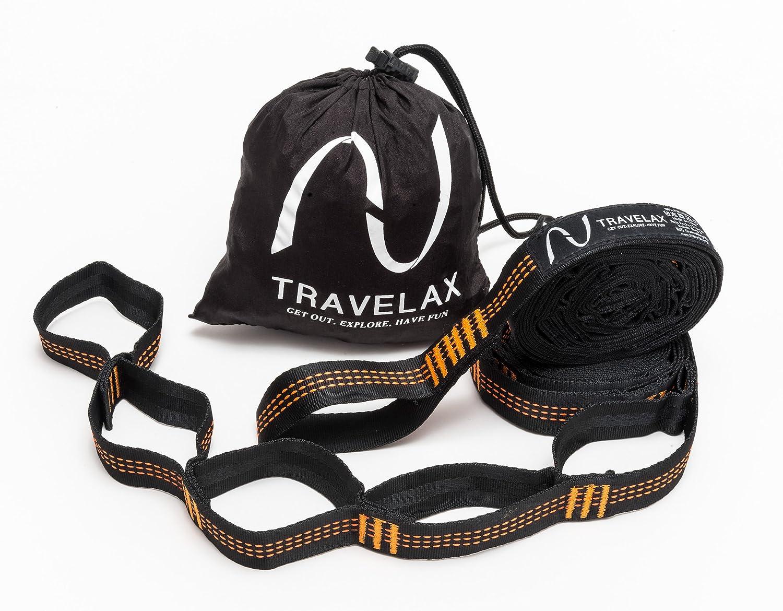 Sistema di fissaggio o cinghie di supporto per montare o appendere amaca con 11 lacci prefabbricati Travelax