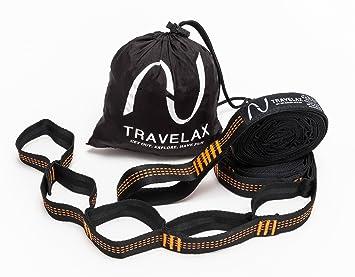 Travelax Sistema de fijación para Hamaca 11 Lazos de altísima Calidad Que garantizan una sujeción rápida