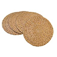 "Benson Mills Water Hyacinth Braided Placemat (Whitewash, 15"" Round, Set of 4)"