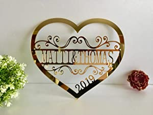 Personalized Valentine Wreath Door Hanger Sign Couples Names Wedding Gift Laser Cut Heart Love Decor Wall Hanging Monogrammed Signs Valentines Day Centerpiece Custom Family Name Established Year