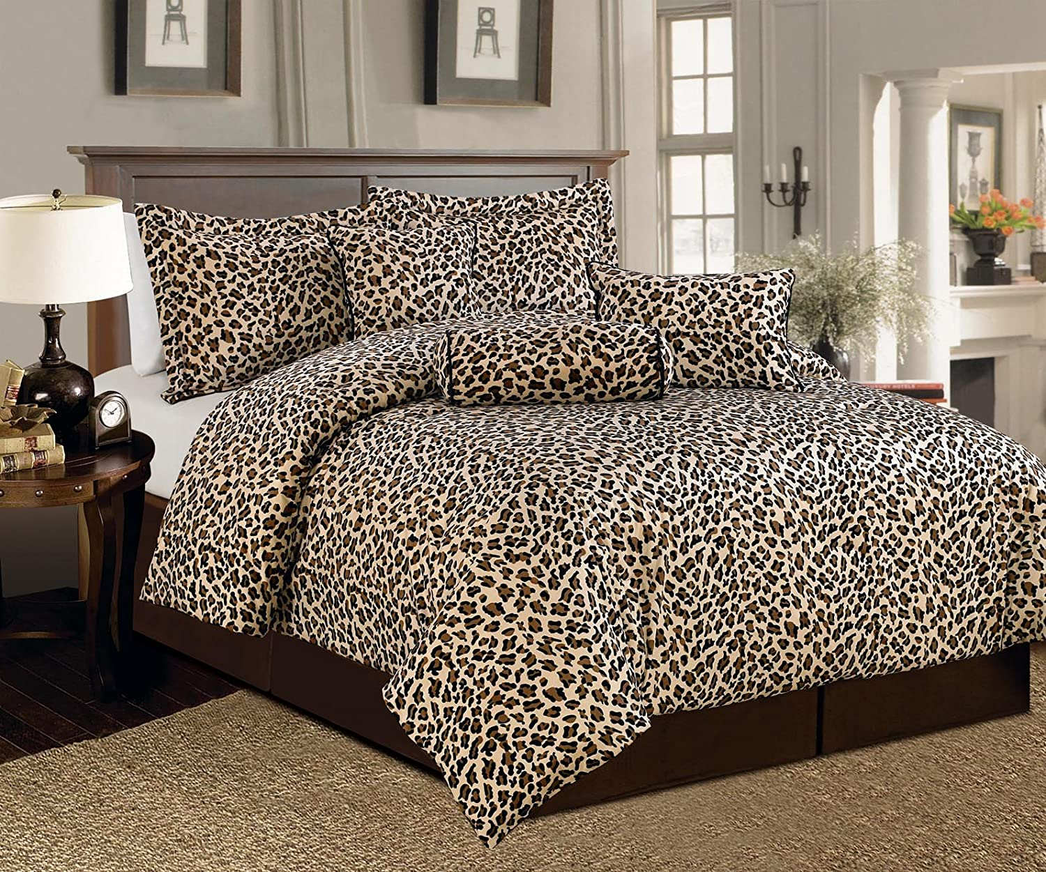 Cheap zebra print bedroom sets - Amazon Com Beautiful 7 Pc Brown And Beige Leopard Print Faux Fur Full Size Comforter Bedding Set Home Kitchen
