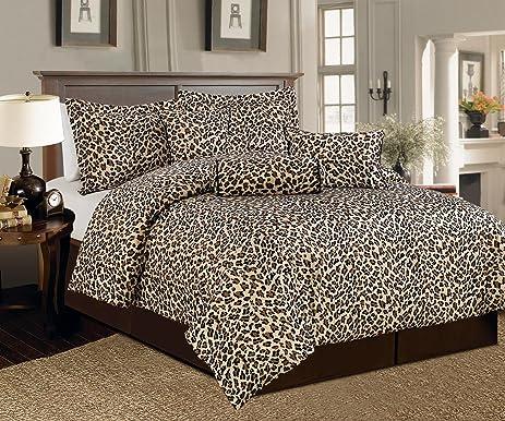 Legacy Decor Beautiful 7 Pc Leopard Print Faux Fur, King Size Comforter  Bedding Set