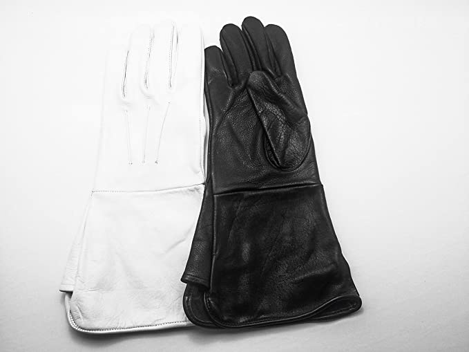 Deluxe Adult Costumes - Men's Medieval Renaissance black or white unlined gauntlet gloves