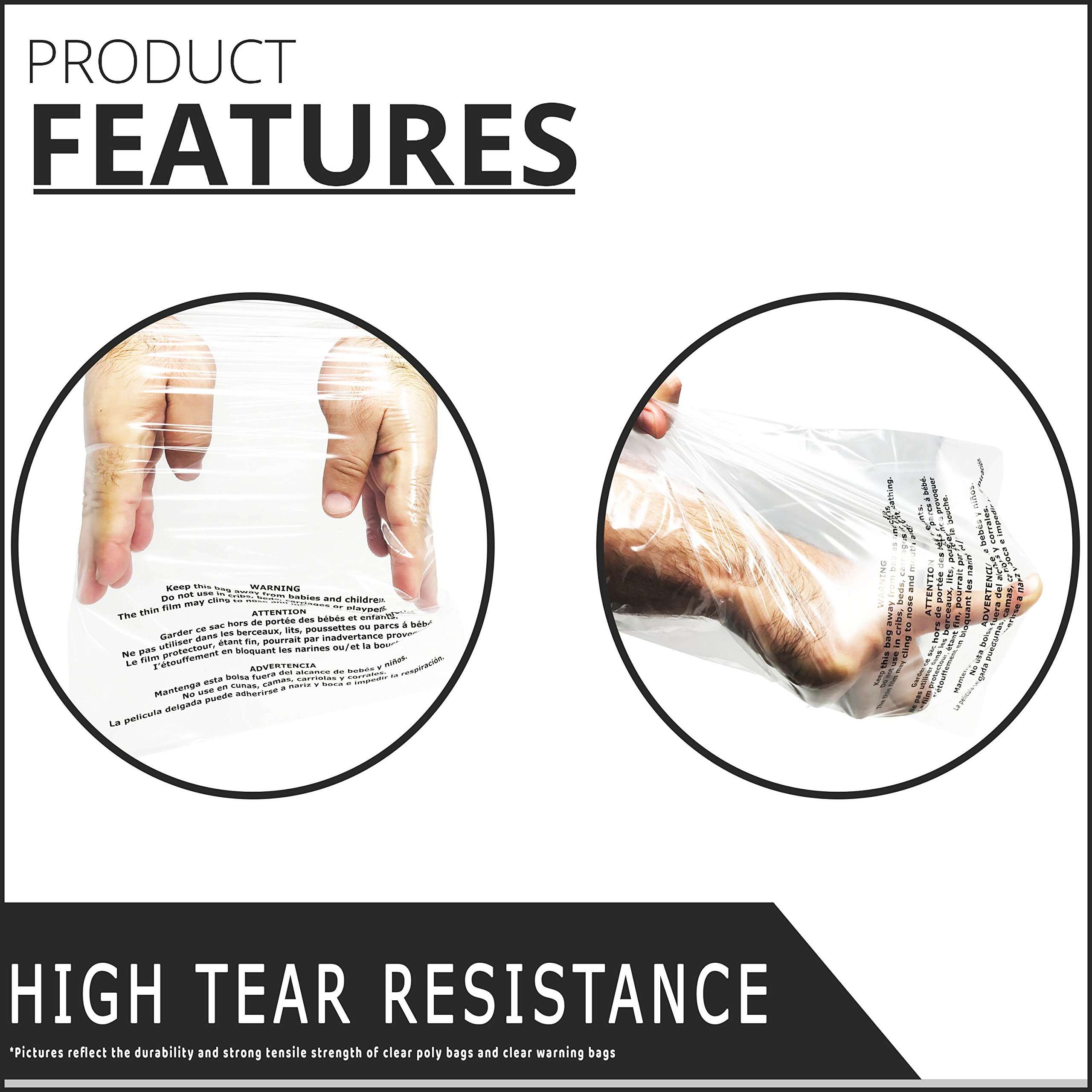 Shop4Mailers 12 x 15.5 Suffocation Warning Clear Plastic Self Seal Poly Bags 1.5 Mil (500 Pack) by Shop4Mailers (Image #3)