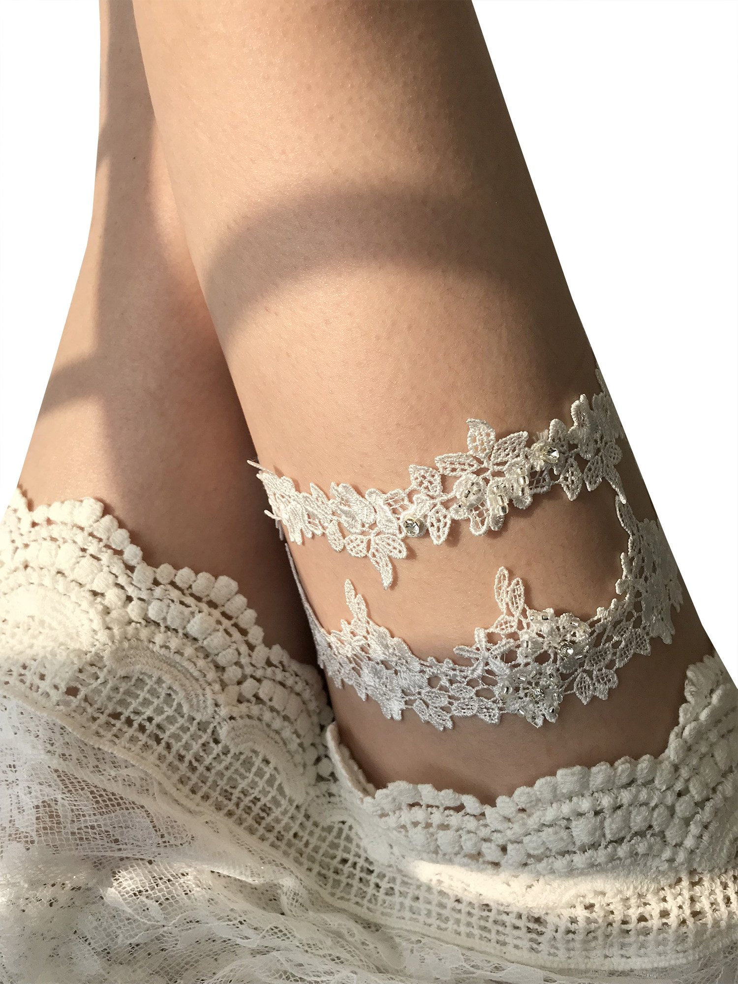 YuRong Wedding Flower Garter Set Rhinestone Garter Set Bridal Leaf Garter G06 (Ivory)