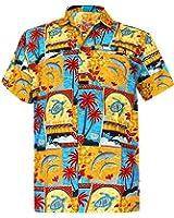 LA LEELA Shirt Camicia Hawaiana Uomo XS - 5XL Manica Corta Hawaii Tasca-Frontale Stampa Hawaiano Casuale Regular Fit Grigio1577