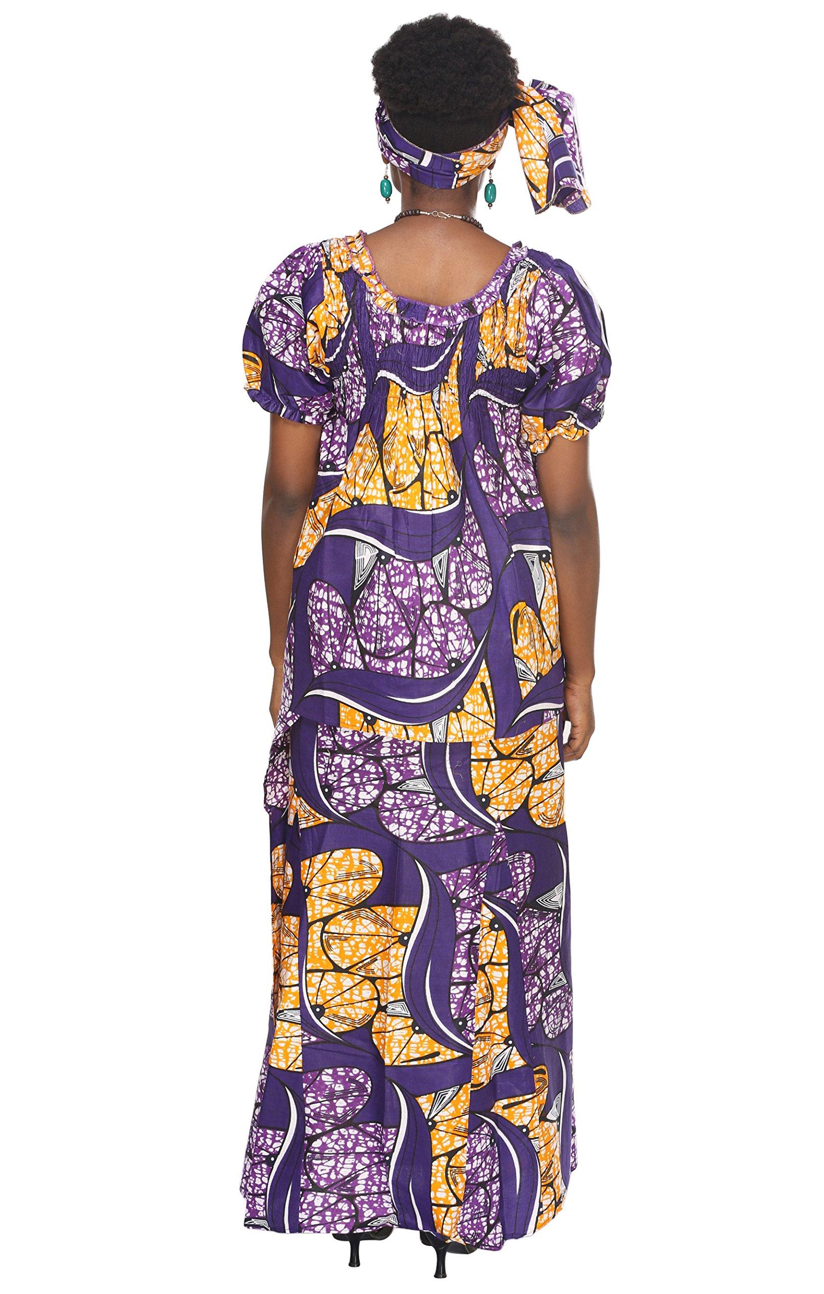 African Planet Women's Purple Wax 3 Piece Set Skirt Kenya Elastic Printed Waist Maxi by African Planet (Image #3)