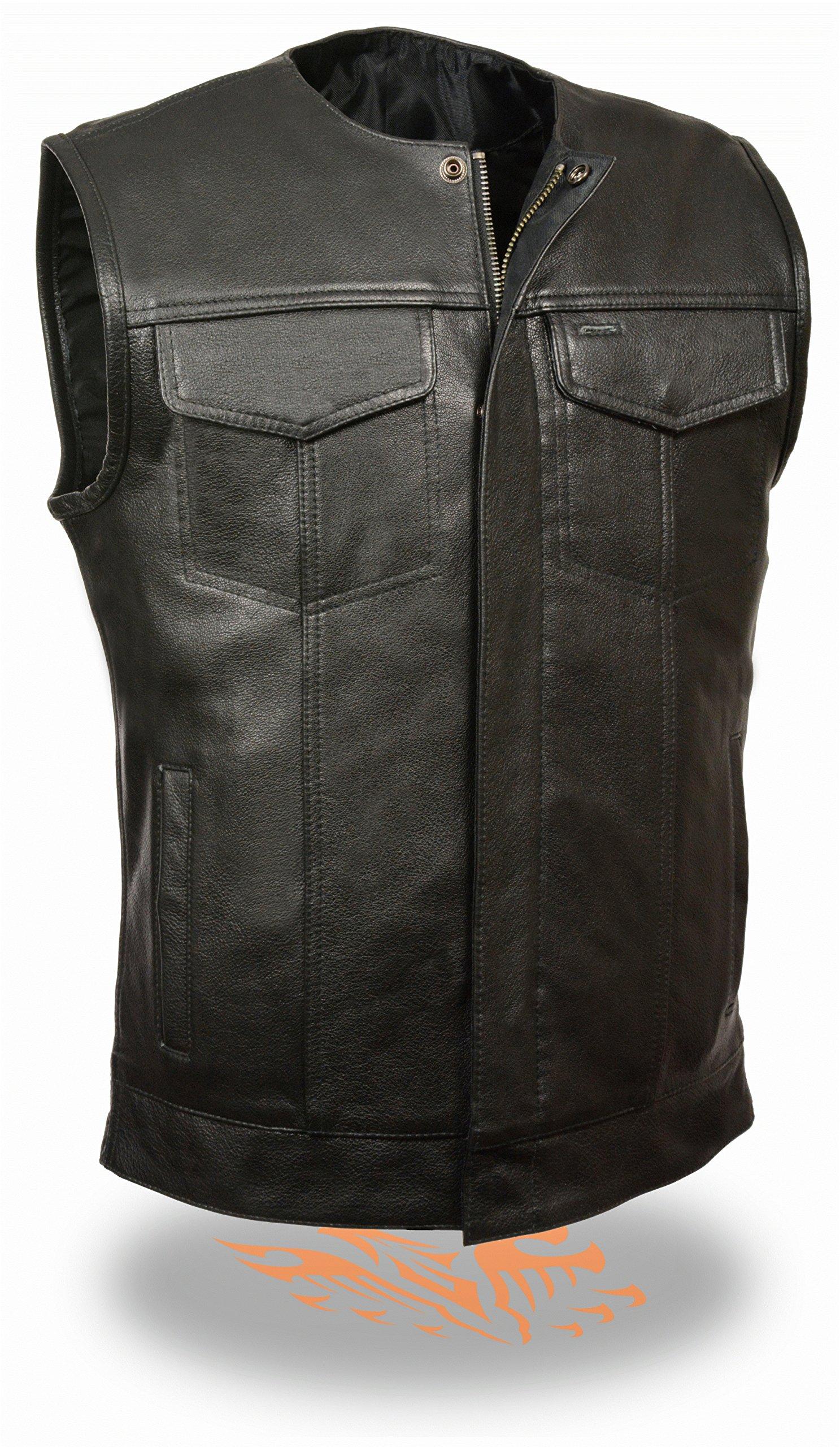 Men's SOA Club Cut Motorcycle Vest w/ Snap & Zipper Front Closure, Single Panel Back & Dual Inside Gun Pockets