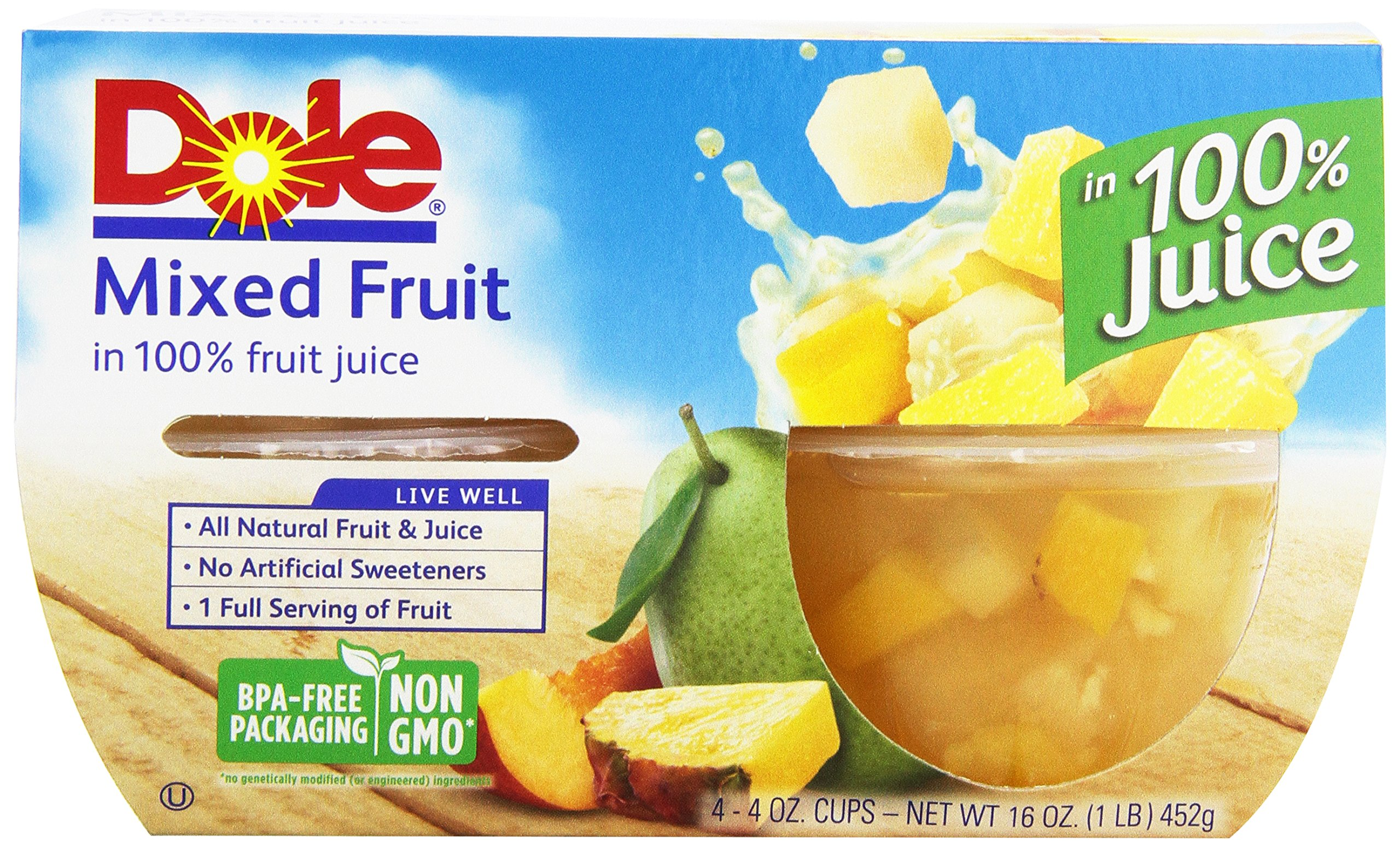 Dole Mixed Fruit in Light Syrup, 4 ct, 4 oz cups