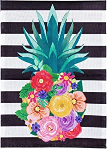 Evergreen Flag Colorful Floral Pineapple Striped Garden Burlap Flag 12.5 x 18 Inches Durable and Stylish Double Sided Welcome Flag Outdoor Yard Decor.