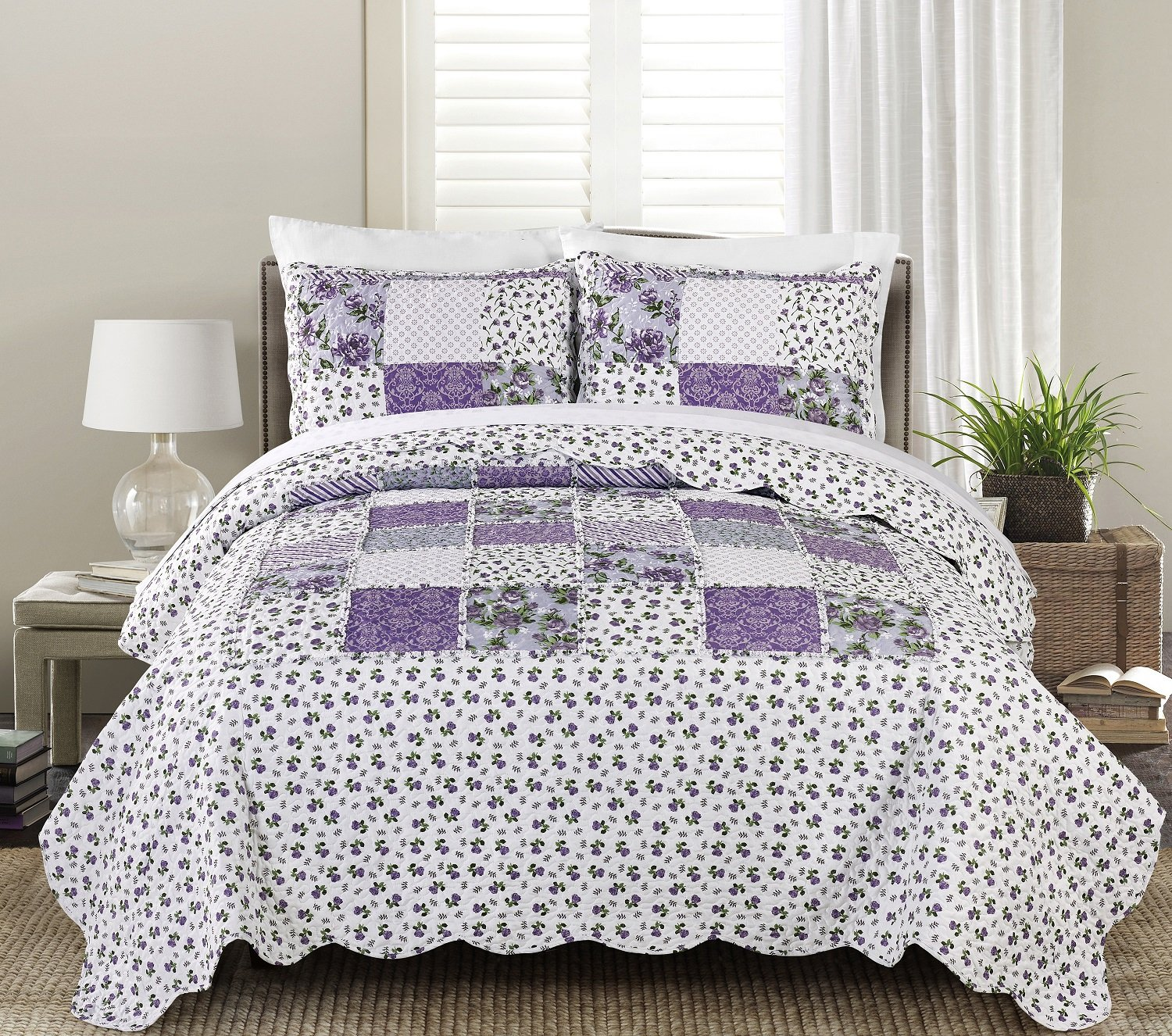 Blissful Living Luxury Ruffle Quilt Set Including Shams - Lightweight and Soft for all Seasons - Beatrice Lavender - Full/Queen