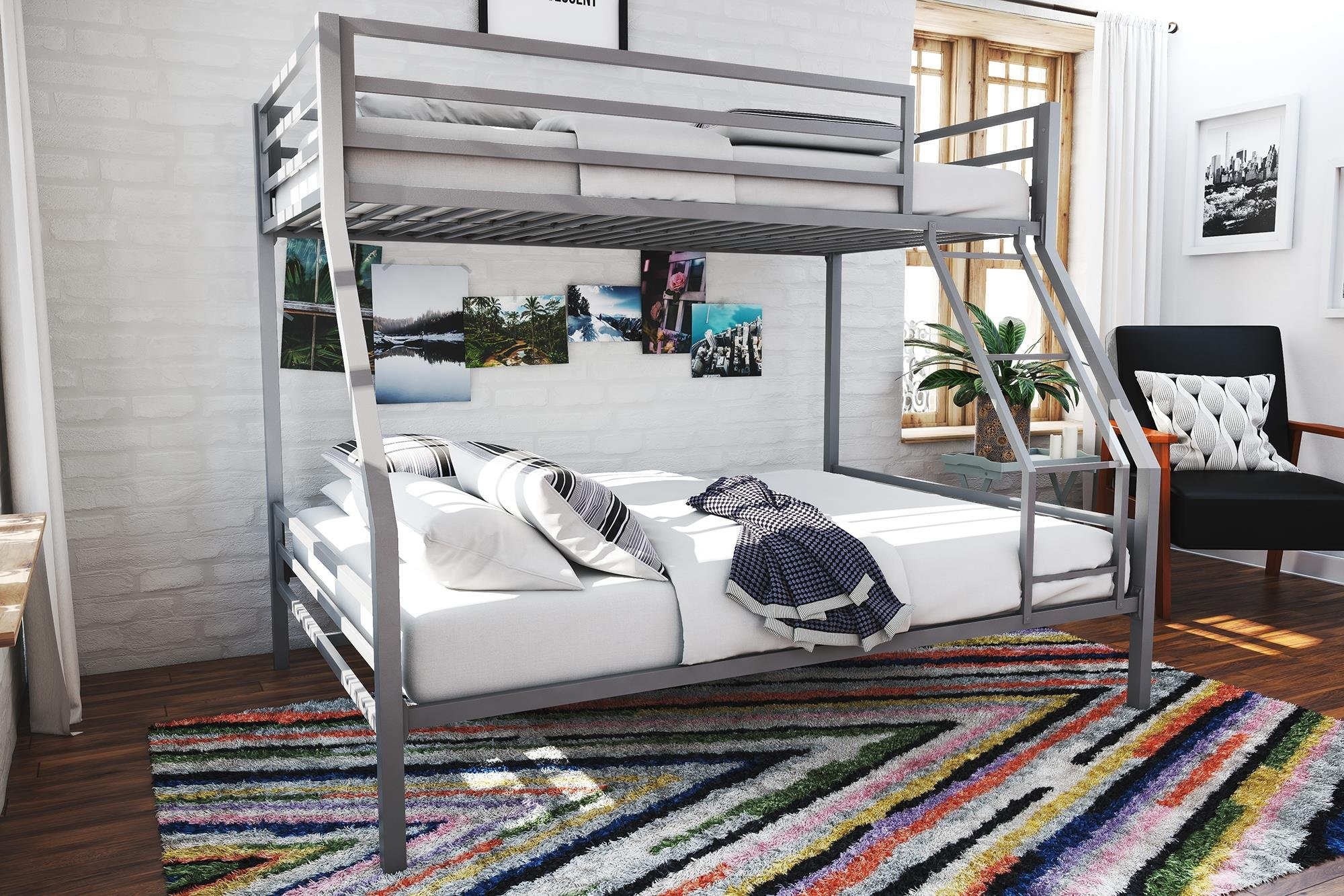 Novogratz Maxwell Twin/Full Metal Bunk Bed, Sturdy Metal Frame with Ladder and Safety Rails, Grey by Novogratz