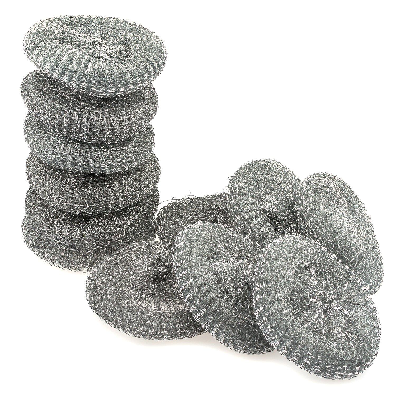 Large Stainless steel sponge set, Metal sponge, Metal scrubber, Stainless steel scouring pad (Pack of 12)