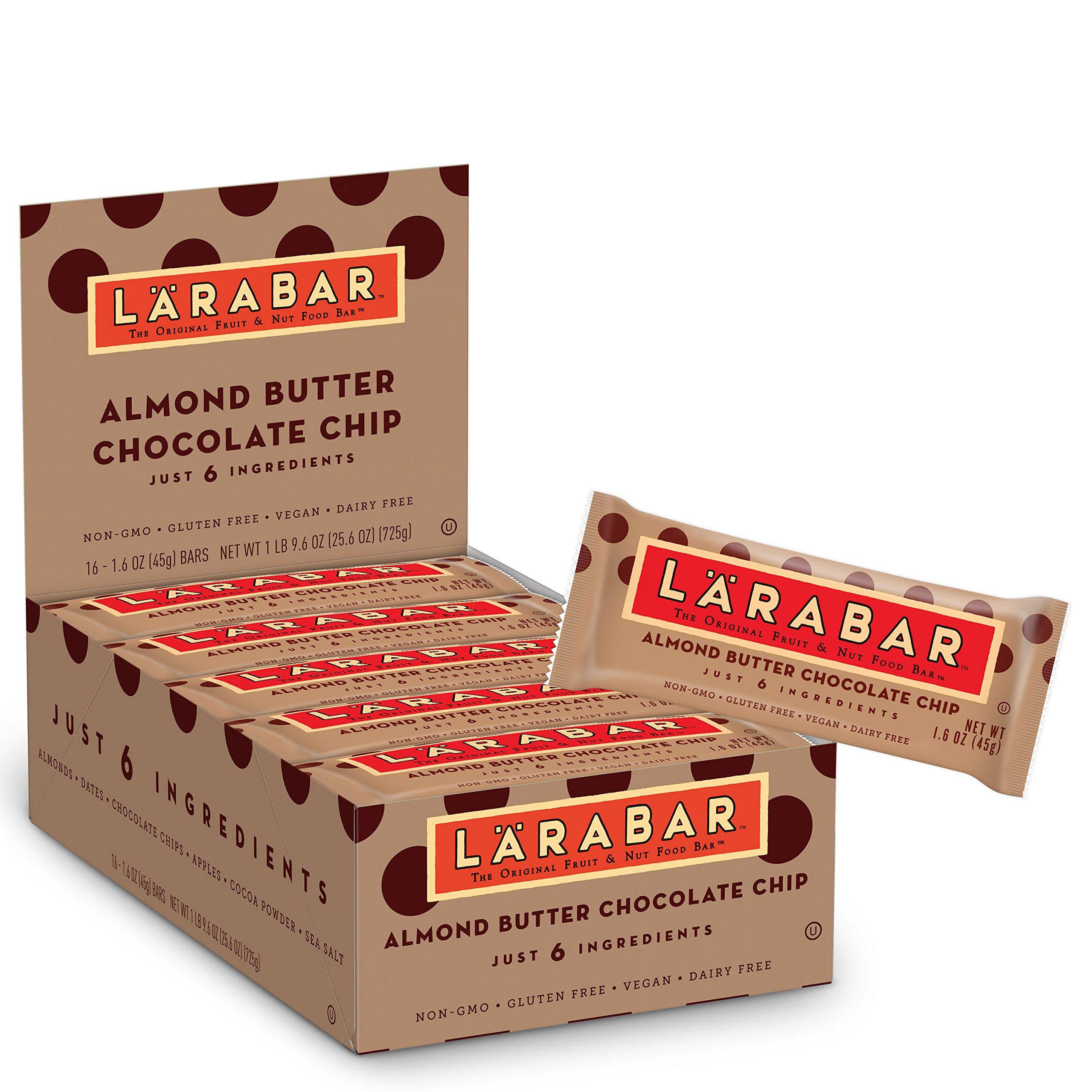 Larabar Gluten Free Bar, Almond Butter Chocolate Chip, 1.6 oz Bars (16 Count), Whole Food Gluten Free Bars, Dairy Free Snacks