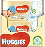 Huggies Pure Baby Wipes -  Pack of 10 (10 x 56 Packs, Total 560 Wipes)