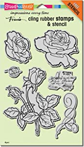 Stampendous Cling Rubber Stamp Set, Rose Garden W/Template