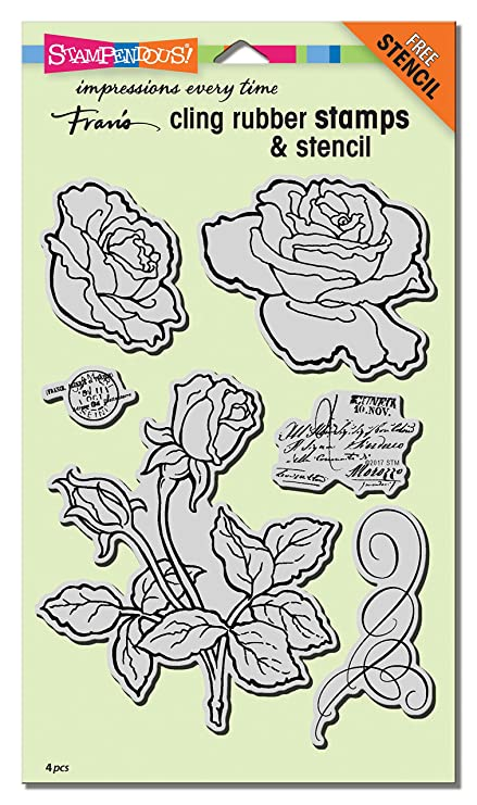 amazon com stampendous cling rubber stamp set rose garden w