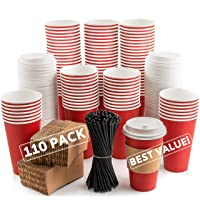 110 Pack Disposable Coffee Cups with Lids - Premium Quality 16 oz To Go Coffee Cups...