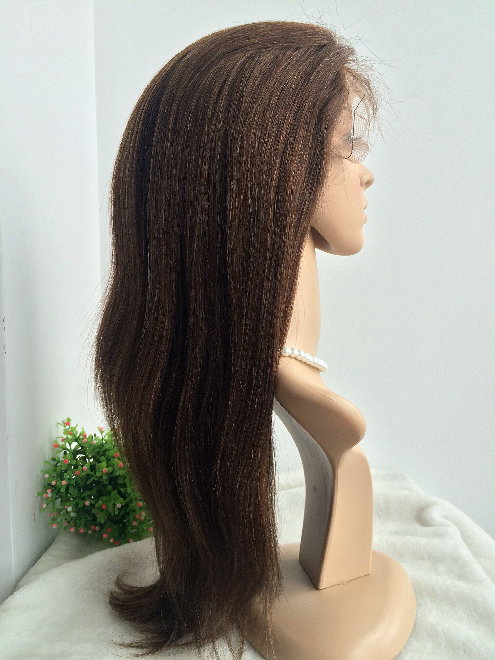 100% HUMAN HAIR,CHINESE VIRGIN HAIR,COARSE YAKI TEXTURE,GLUELESS FULL LACE WIG-BW0056--with bleached knots,baby hair all round