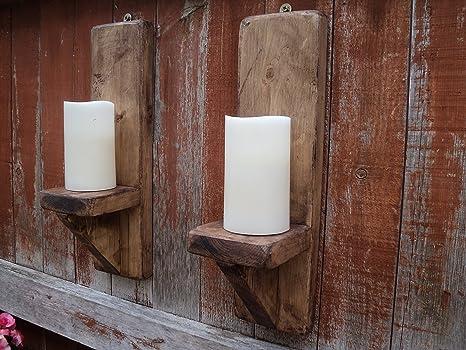 Coppia di 40 cm in legno applique portacandele rustico shabby