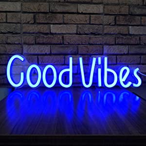 Good Vibes Neon Sign LED Wall Light Letters Décor for Bedroom Neon Letters Cool Things Room Accessories Blue Wall Art LED Sign Personalized Neon Signs Party Club Coffee Shop Bar Sign