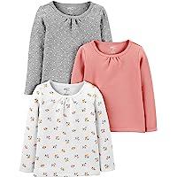 Simple Joys by Carter's Camiseta de Manga Larga Bebé-Niñas, Pack de 3
