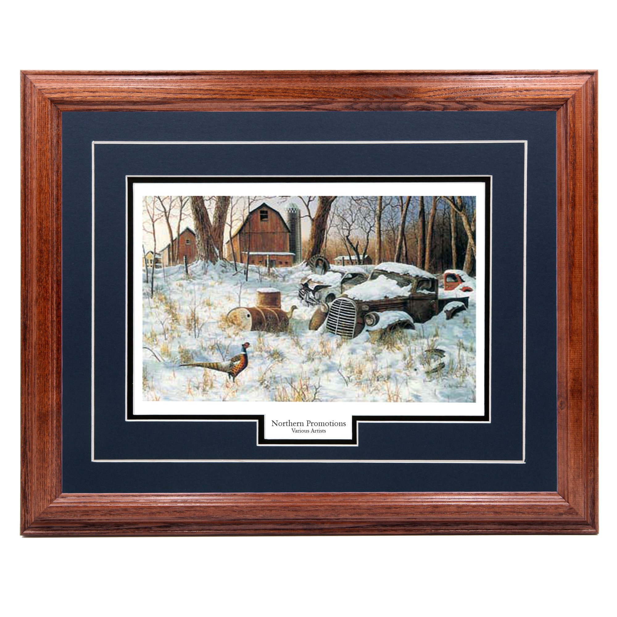 Northern Promotions, LLC. Winter Haven - Jim Hansel – Pheasant in Winter Classic Wall Art Print for Home/Office/Hotel/Cabin/Gift, 17 x 21 in, Blue Mat/Dark Oak Frame – More Frames Available