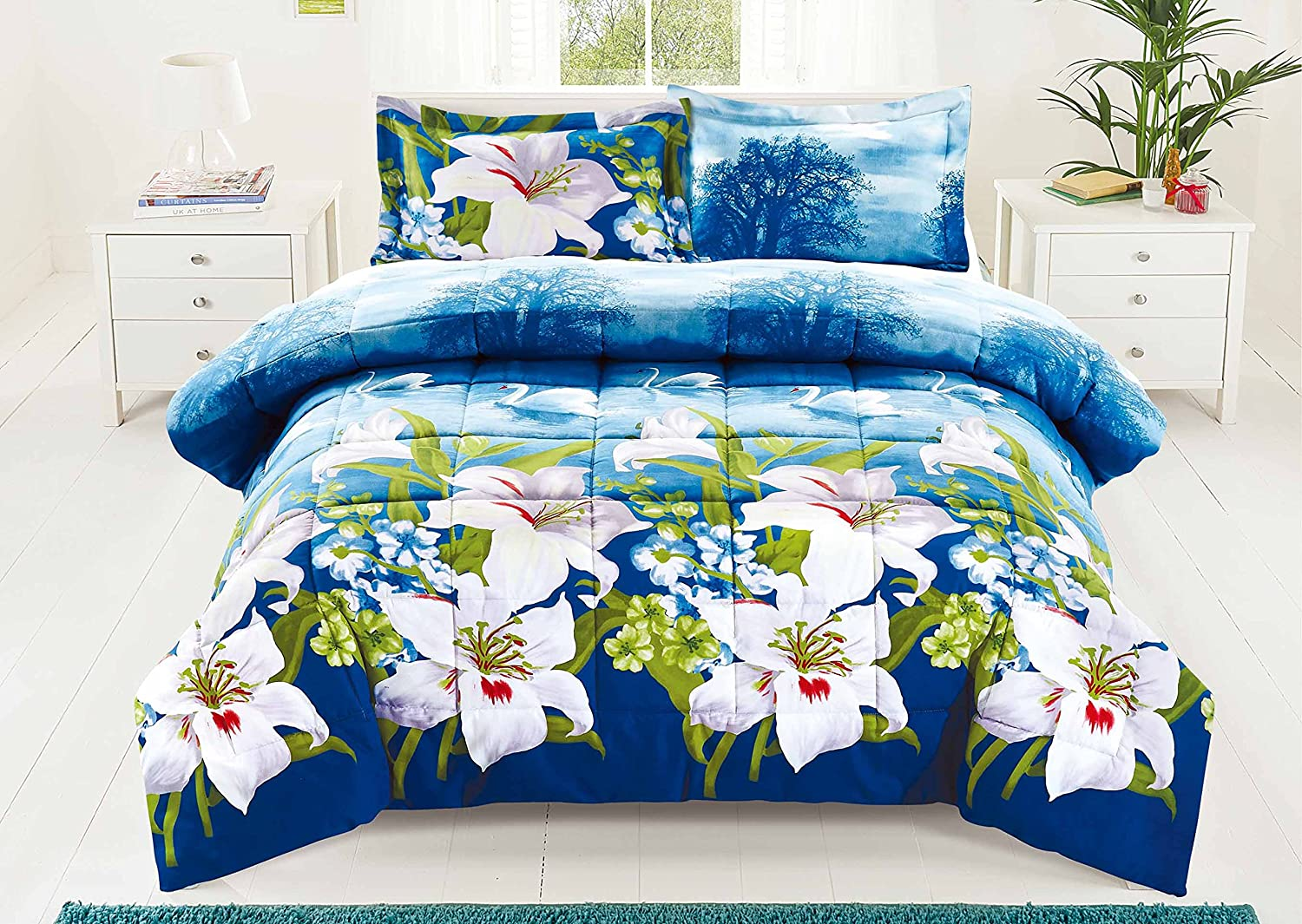 3 Piece Set Swan and Lilies 3d Comforter Set