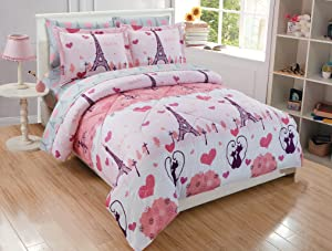 Fancy Linen Teens/Girls 7pc Full Comforter Set Paris Eiffel Tower Hearts Pink Grey New # Paris