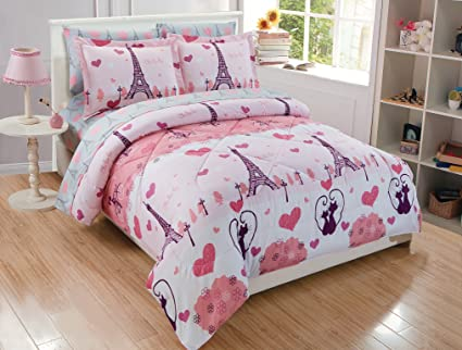 6a3783075f339 MK Home 7pc Full Comforter Set For Girls Paris Bedding Eiffel Tower Pink  Grey New