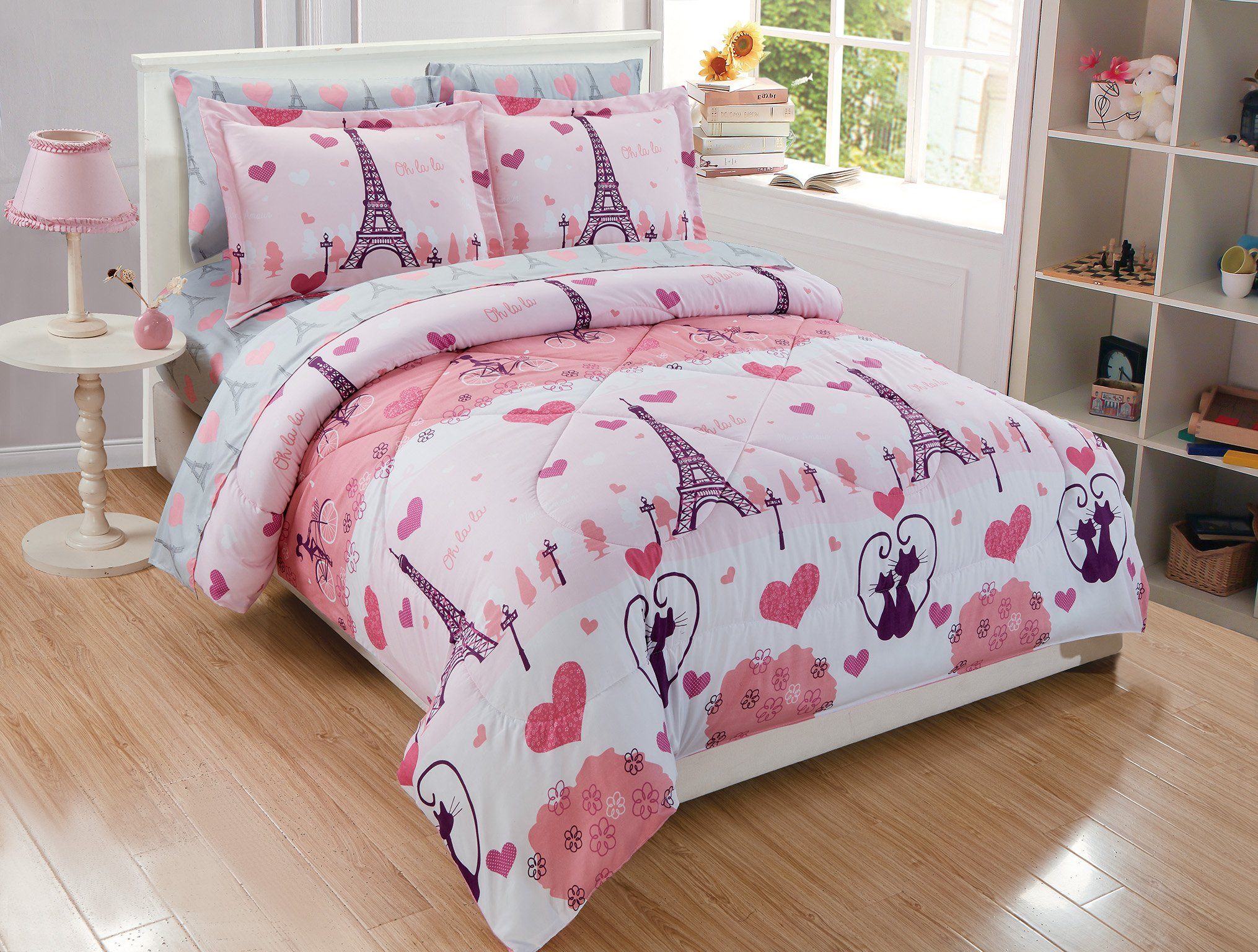 MK Home 7pc Full Comforter Set For Girls Paris Bedding Eiffel Tower Pink Grey New