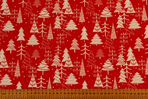 Xmas 20/% Cotton 80/% Polyester. Red Christmas Tree Polycotton Fabric