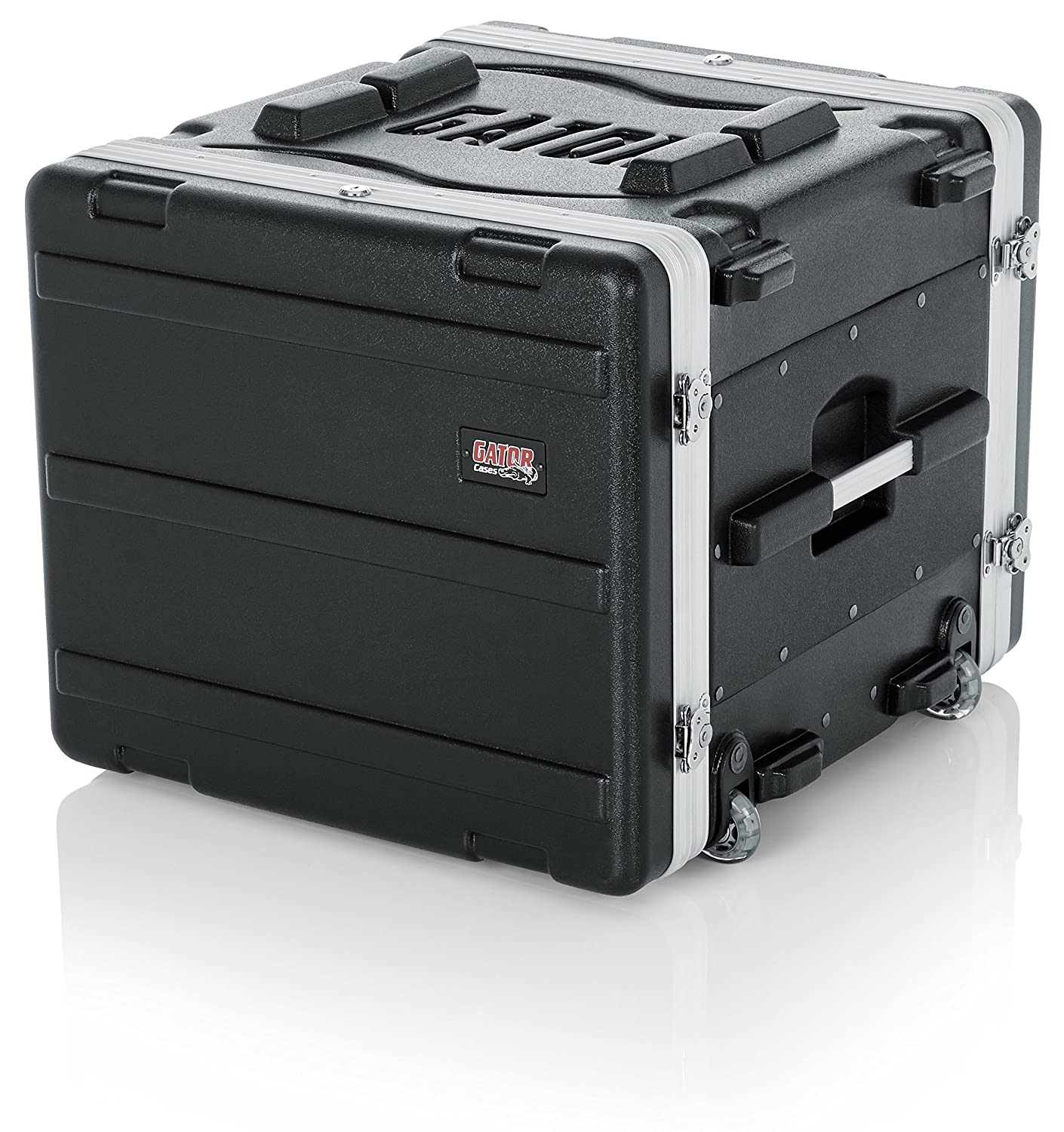 Amazon.com: Gator Cases Lightweight Rolling 8U Rack Case with Heavy Duty Latches, Retractable Tow Handle, and Recessed Wheels; Standard 19.25